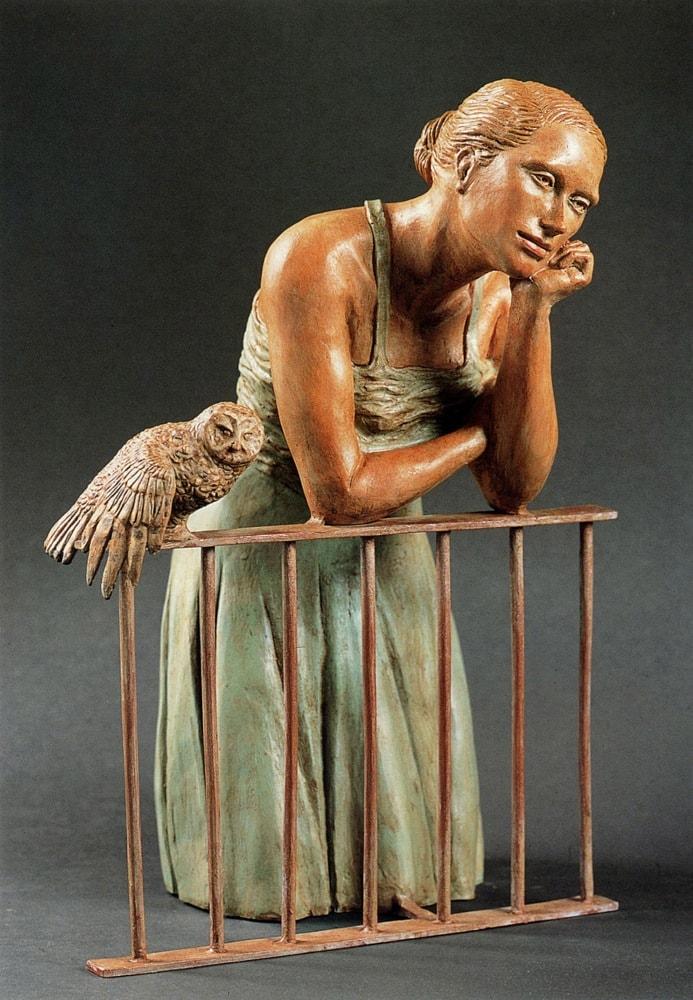ANNUNCIAZIONE 2006, Bronzo dipinto, h 40 cm Collezione privata