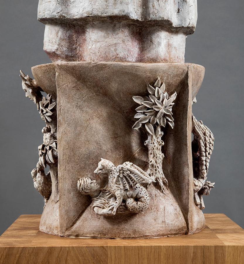 Cecco D'Ascoli, 2019, Terracotta dipinta, alt. cm 122, Il coccodrillo
