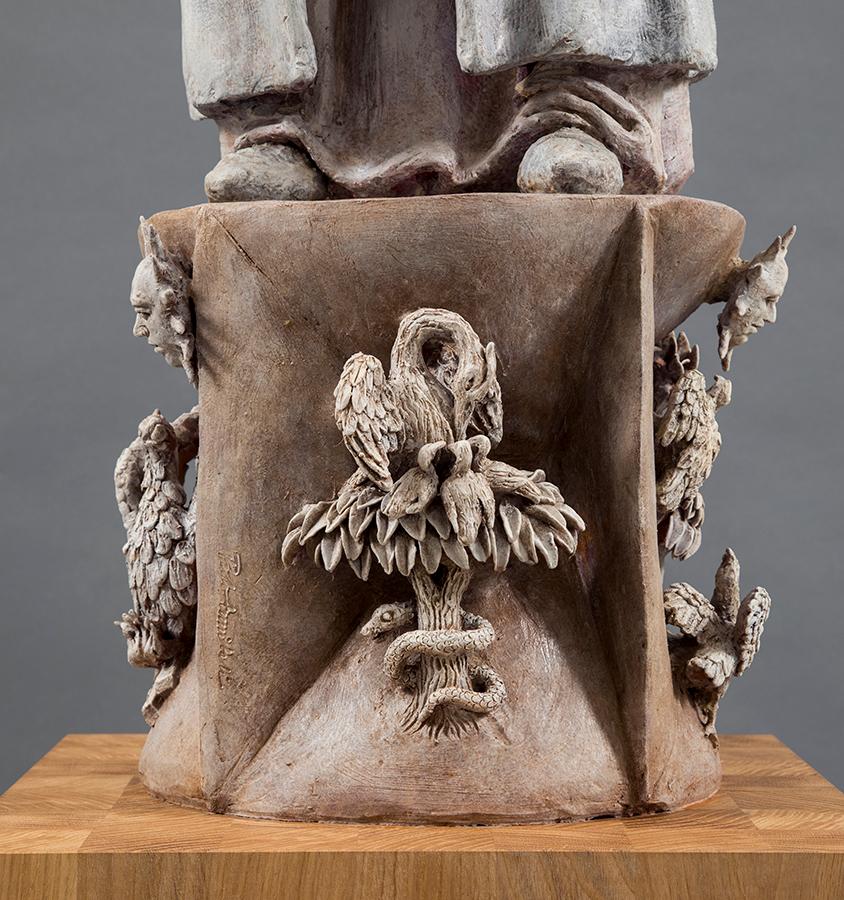 Cecco D'Ascoli, 2019, Terracotta dipinta, alt. cm 122, Il pellicano