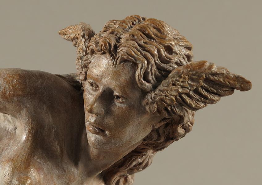 Hypnos, 2018,Terracotta dipinta, alt. cm 33