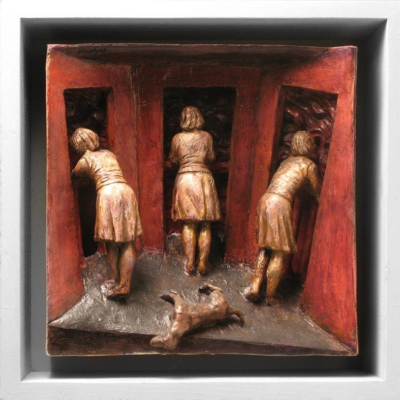 NOTTE IMPROVVISA 2008, Terracotta, 32x32 cm Proprietà dell'artista