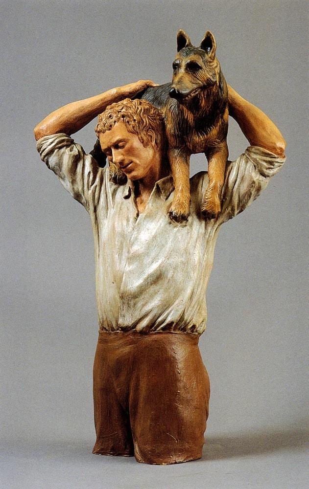 UOMO E CANE 2005, Terracotta, h 49 cm Proprietà privata