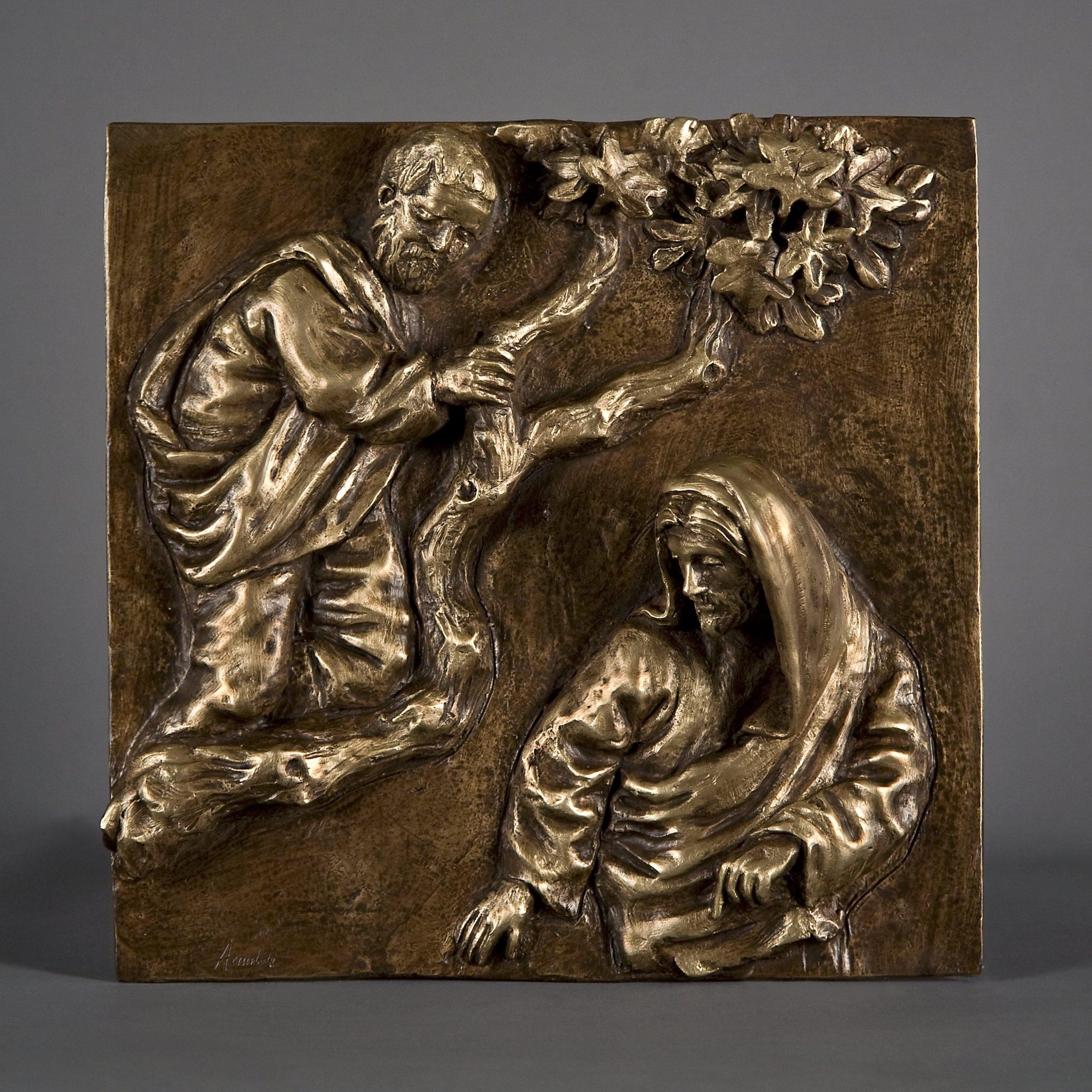 Zaccheo realizzato nel 2015 in bronzo